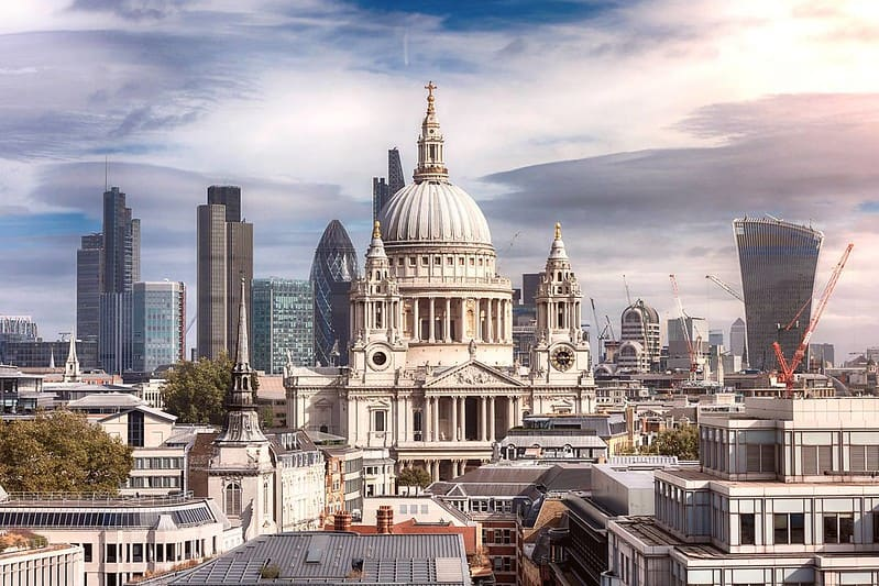 St Paul's Cathedral, in the centre of the London skyline.