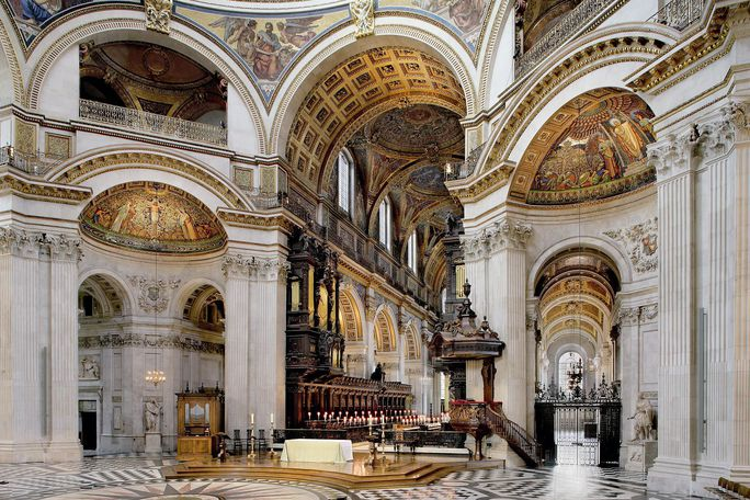 The majestic Cathedral Floor inside St Paul's Cathedral.