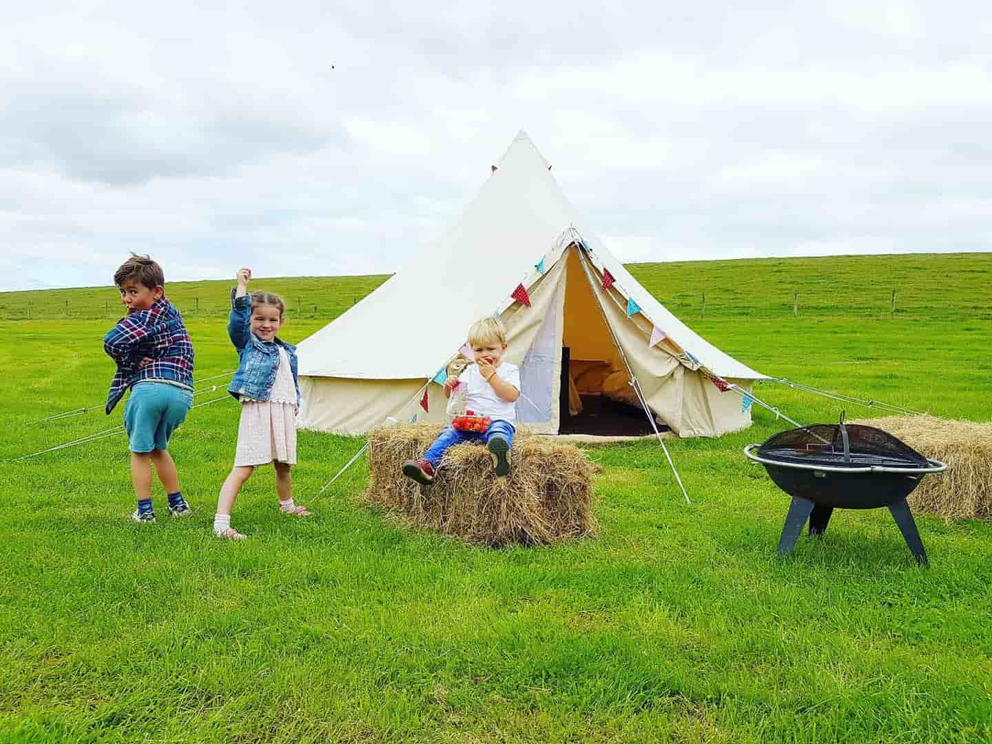 Kids enjoying their teepee during staycation at Dewflock Farm campsite, Dorset.