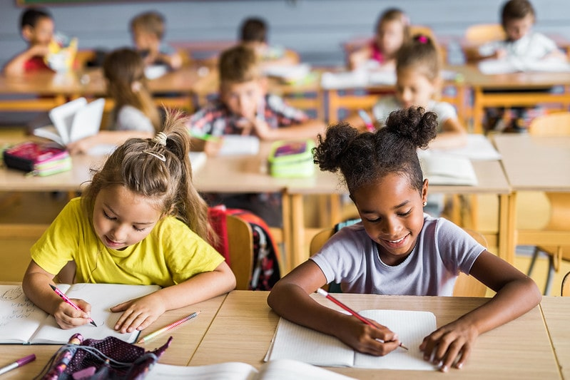 Two schoolgirls and their classmates sat at their desks learning multi-clause sentences.