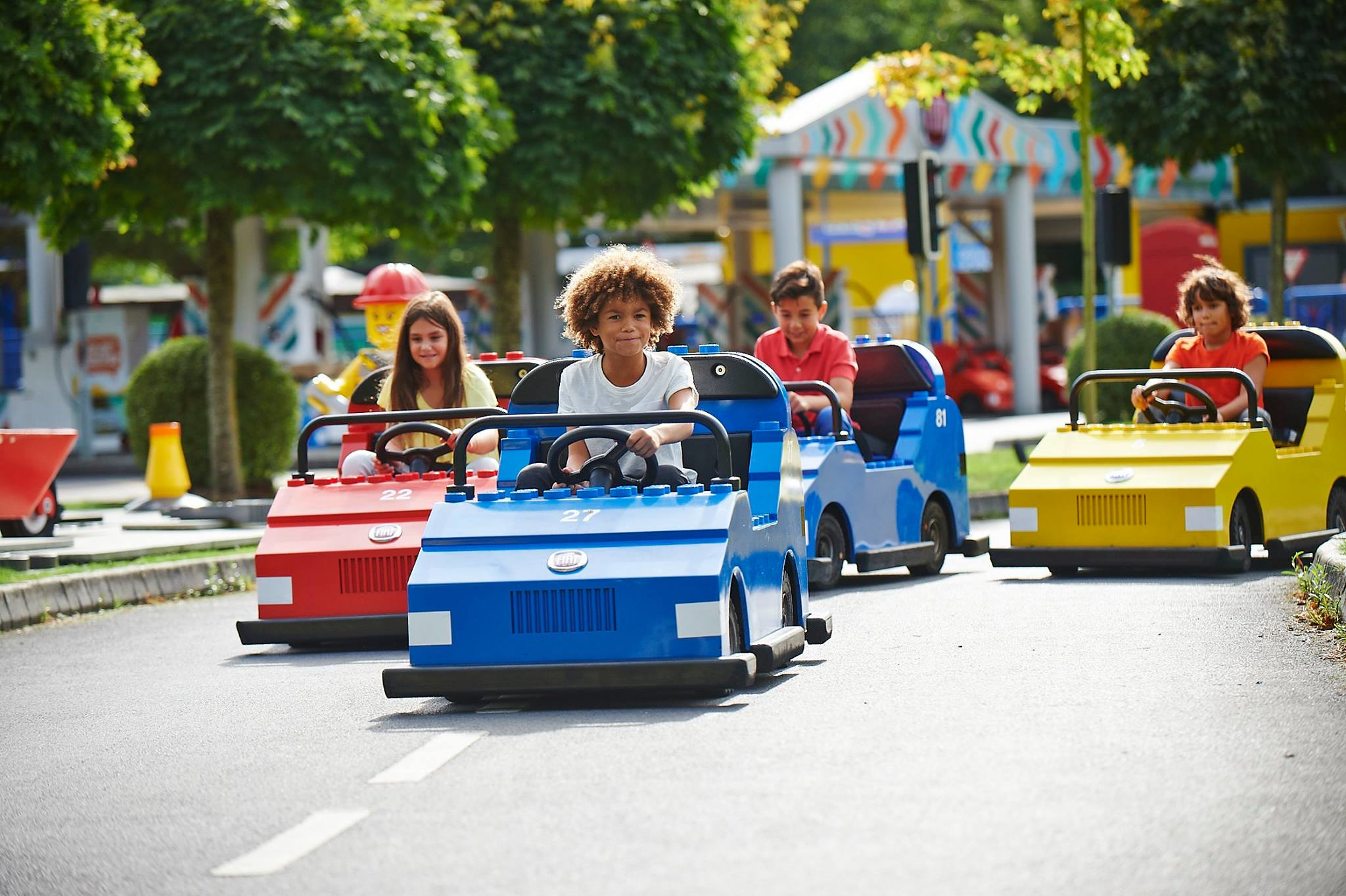 Legoland Windsor race track with kids racing in giant lego cars