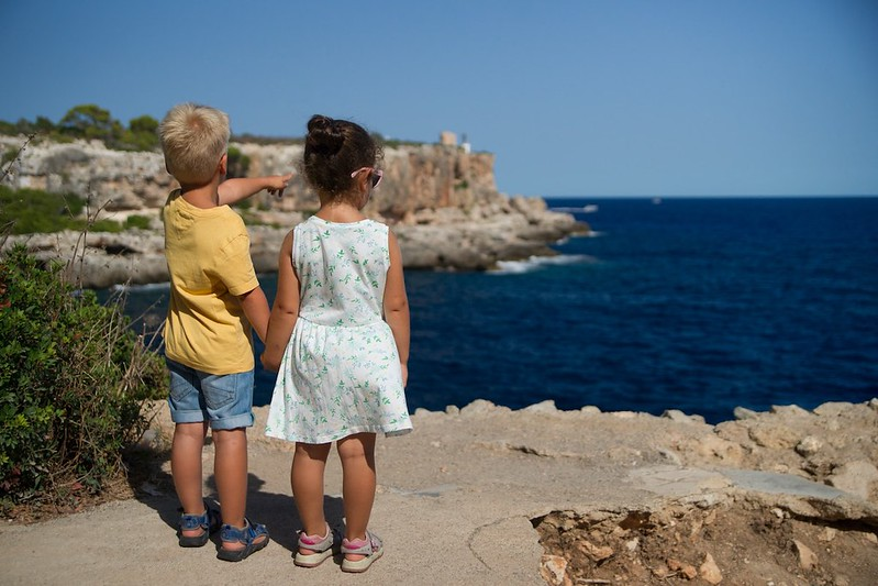 Two young children holding hands. They are stood on a cliff facing the water and one is pointing at the sea.