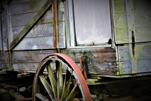 Functional Victorian wagon made of wood and with wooden wheels.