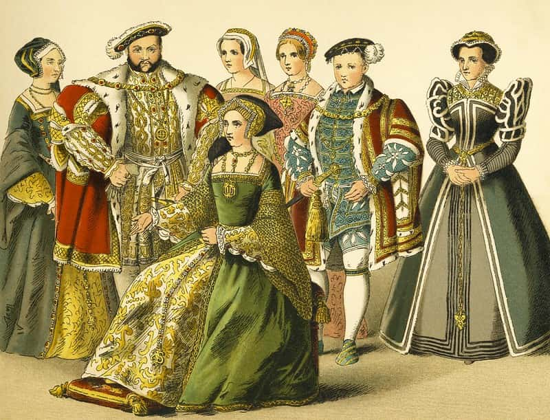 Family portrait of Henry VIII, five wives and his son.