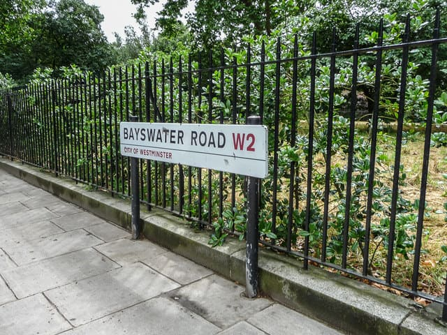 Bayswater Road sign outside the playground.