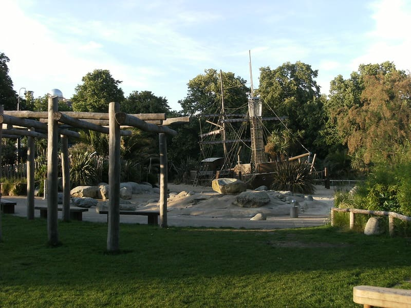 Climbing frame and pirate ship for children at Princess Diana Playground.