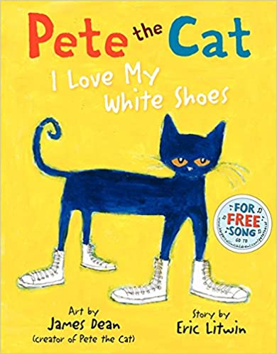 Cover of Pete the Cat: I Love My White Shoes. A navy blue cat wearing white shoes is stood against a yellow background.
