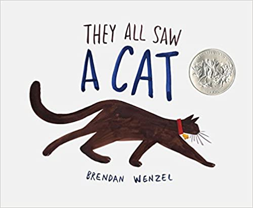 Cover of They All Saw A Cat: a dark brown cat is walking, with it's face turned away. The background is plain white.