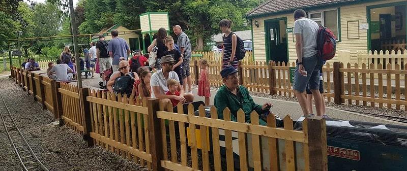 Customers riding the mini train around Swanley Park