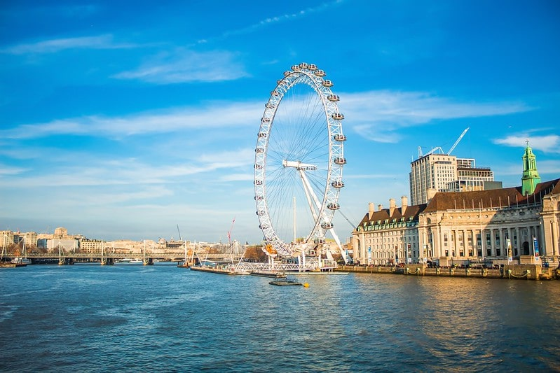 The London Eye from across the river on a sunny day.