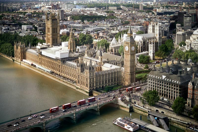 The view of the Houses of Parliament and Big Ben from the London Eye.