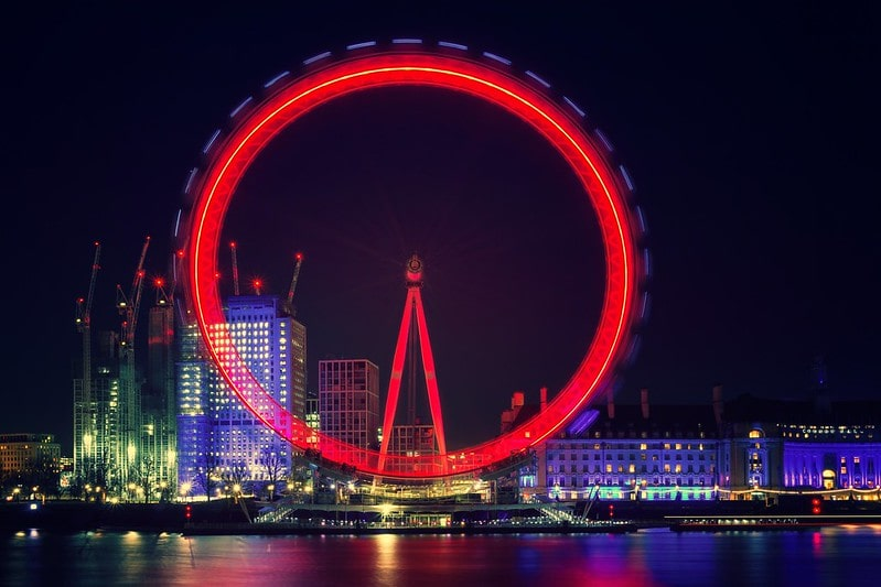 The London Eye lit up in red at night time.