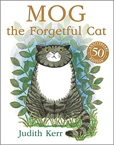Cover of Mog The Forgetful Cat. A black and grey striped cat is looking up, with some plants behind. The background is white.