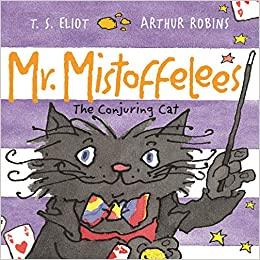 Cover of Mr Mistoffelees: a smiling grey cat in a bow-tie is holding a magic wand. The background consists of purple and white stripes.