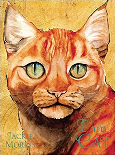 Cover of I Am Cat: a close-up portrait of a ginger cat with blue eyes, looking straight ahead.