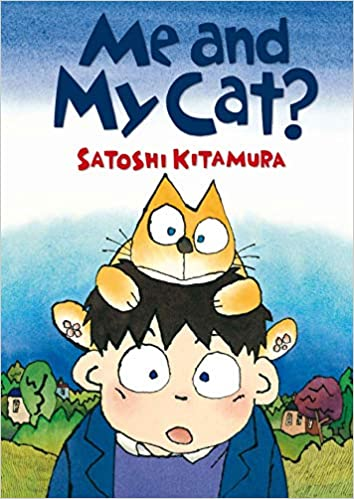 Cover of Me and My Cat: against a rural background with a clear blue sky, a cartoon boy has an orange cat on his head and both of them look surprised.