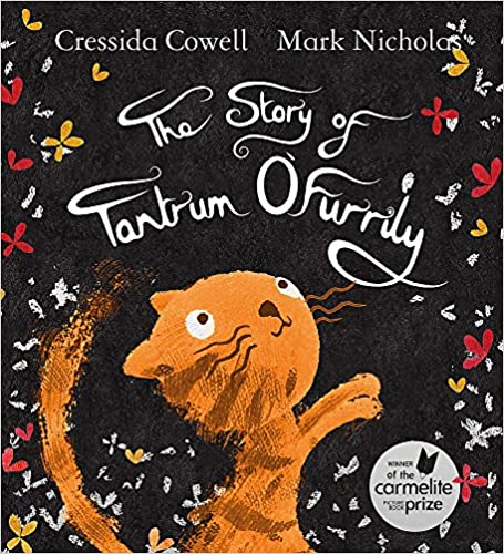 Cover of The Story of Tantrum O'Furrily: a ginger cat with long tail is stood with its paws up, looking up at the black background with yellow and red butterflies on.