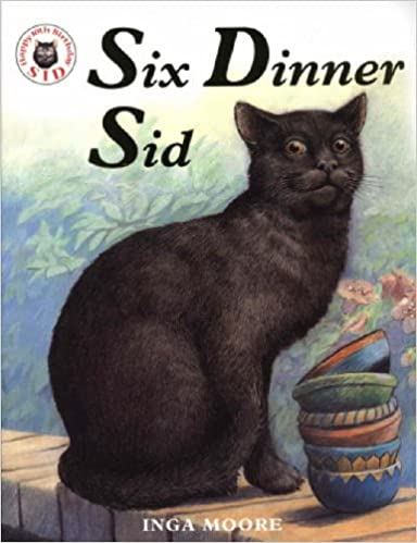 Cover of Six Dinner Sid: A black cat is perched on a short wall on a sunny day, with a stack of bowls in front of it and a bush behind.