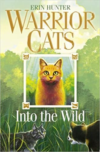 Cover of Warrior Cats: in the centre is a ginger cat in a white frame. In the background is a forest scene with two cats looking at each other aggressively.