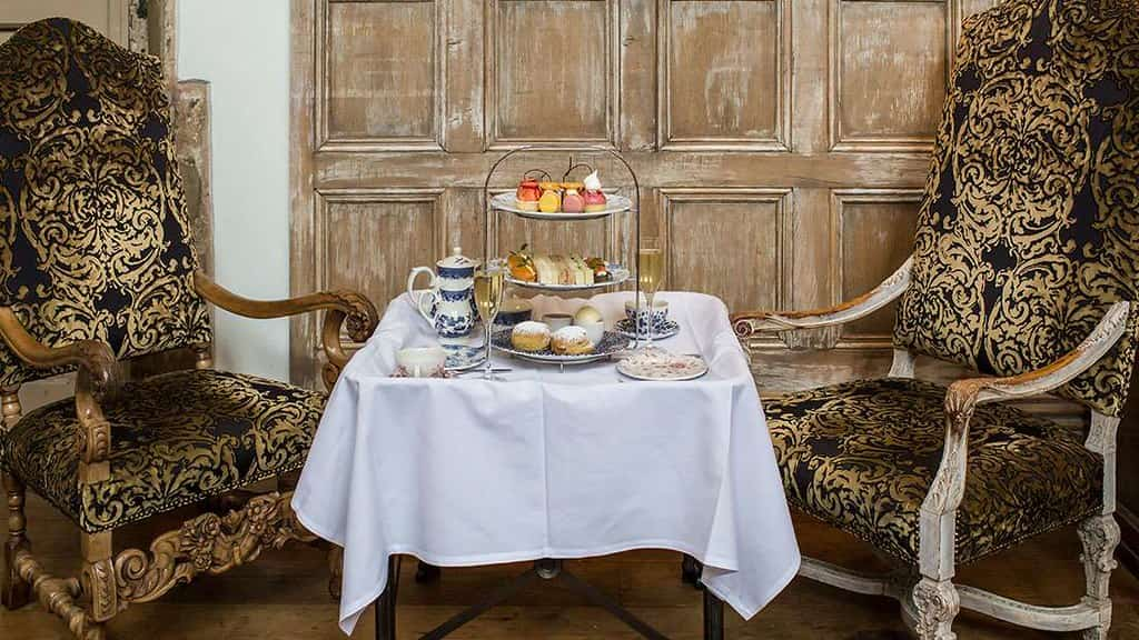 Table for two for afternoon tea and bubbles at Fawsley Hall.