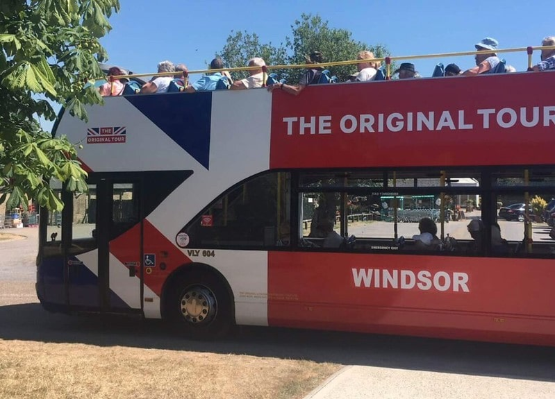 Tour group on board a sightseeing bus in Windsor.