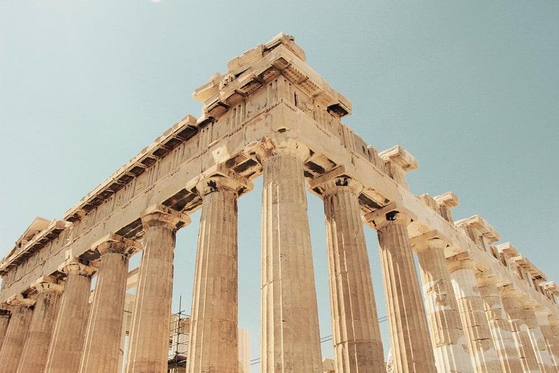 Roman ruins, a grand structure with columns showcasing Roman architecture.