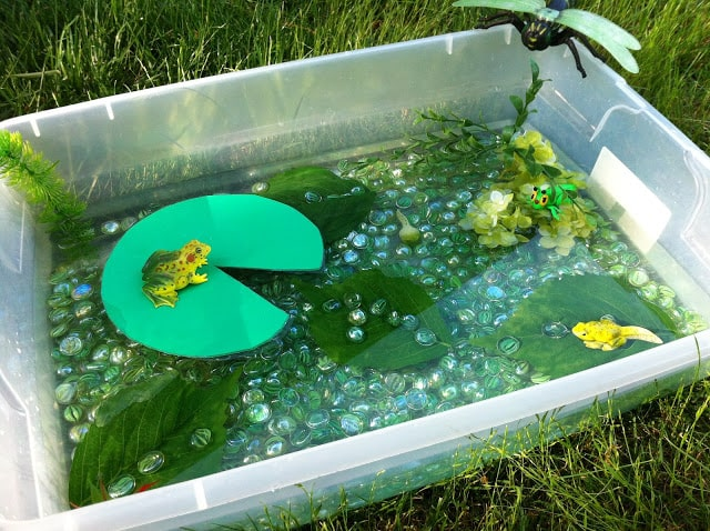Large tub filled with water, glass marbles, lily pad and toy frog making a sensory bin.
