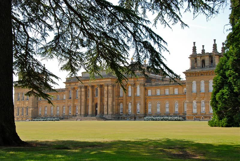 Blenheim Palace viewed from a distance.