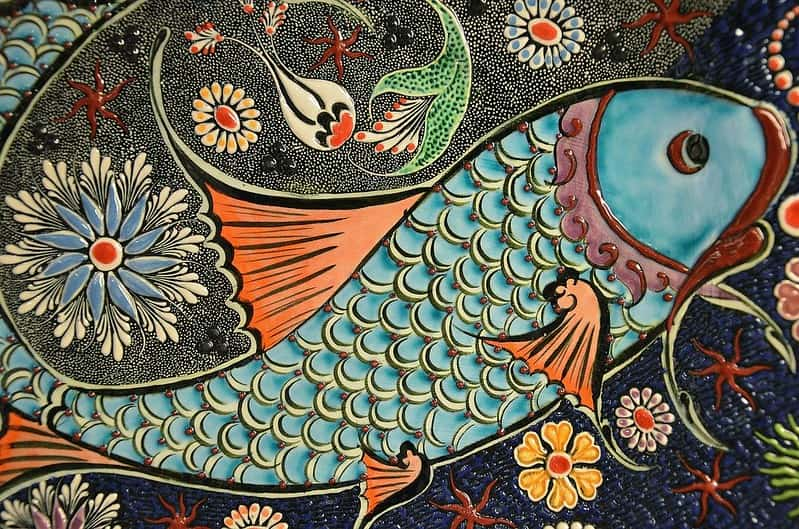 Brightly coloured fish mosaic