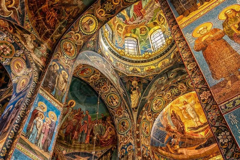 View of a huge religious mosaic inside a church.