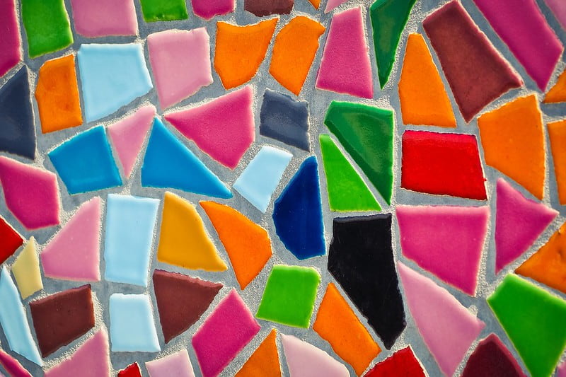 Close-up of a colourful glass mosaic.