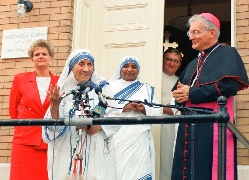 Mother Teresa speaking at her organisation, Missionaries of Charity.