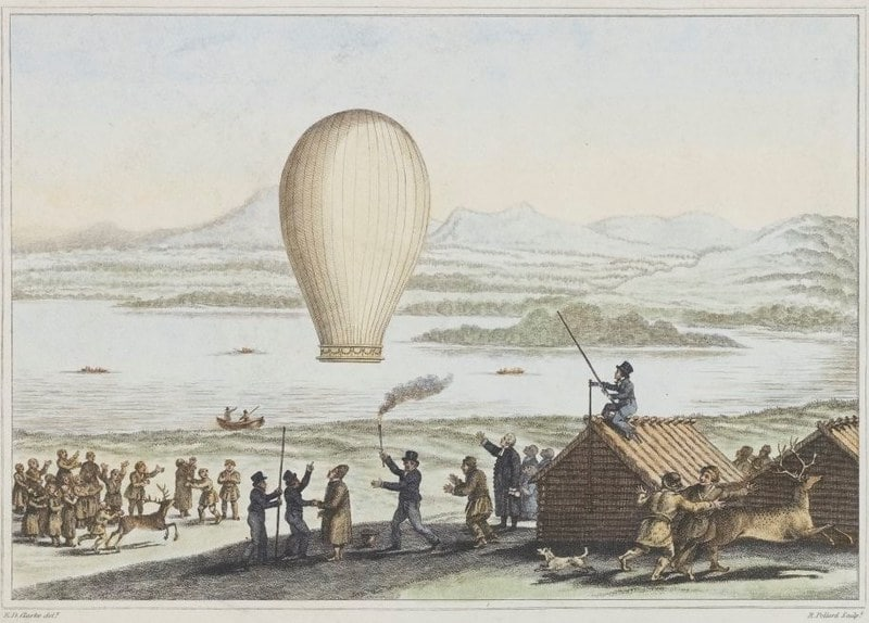 Drawing of a hot air balloon flying off in the past.
