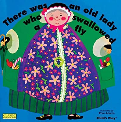 Cover of There Was An Old Lady Who Swallowed A Fly: against a blue background, an old woman with grey hair and a bonnet around her hair stands smiling.