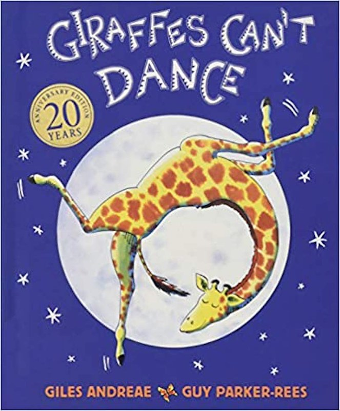 Cover of Giraffes Can't Dance: a smiling giraffe is doing a backflip while smiling. In the background are the moon and night sky.
