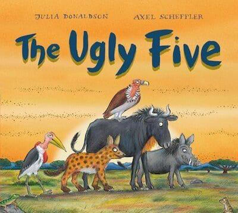 Cover of The Ugly Five: against the summer heat in a grassy plain, a warthog, hyena, vulture, wildebeest and marabou stalk are walking together.