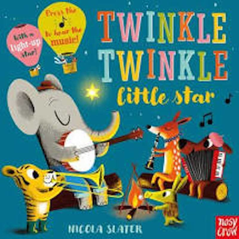 Cover of Twinkle Twinkle Little Star: five small animals holding musical instruments play their instruments joyfully by a fire, against the night sky.