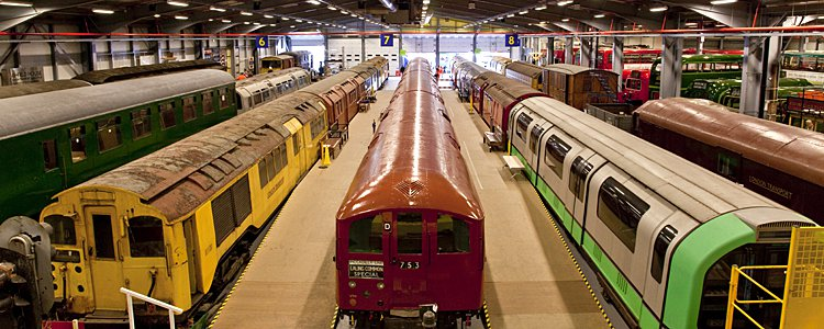 Trains in London Transport Museum's Acton Depot