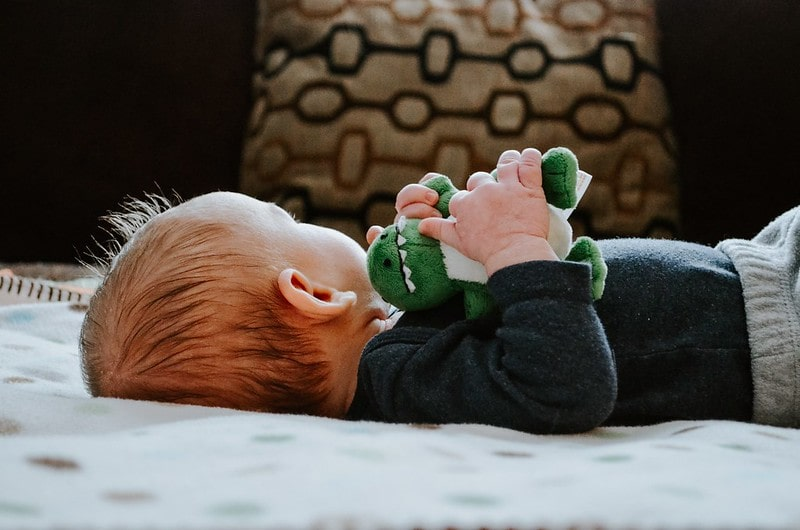 Baby lying on its back looking away holding a stuffed toy dinosaur.