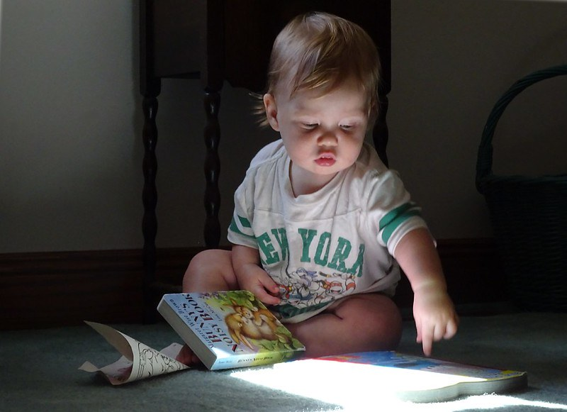 A toddler is pointing at a book beside him on the floor.