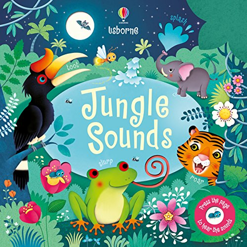 Cover of Jungle Sounds: an array of smiling animal and colourful plant life are set against the night sky.