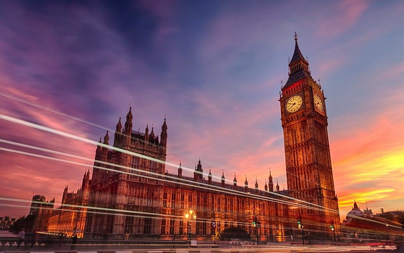 Big Ben and the Houses of Parliament at sunset.