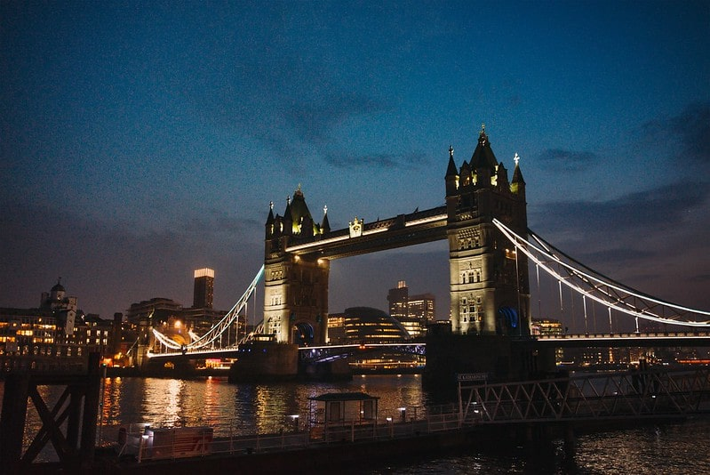 A view of Tower Bridge with the City of London behind.