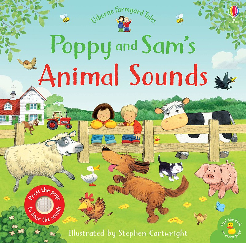Cover of Poppy and Sam's Animal Sounds: two children and a cow watch some farm animals play from behind a fence.