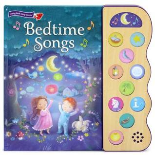 Cover of Bedtime Songs: a boy and girl are looking up in a forest, amazed by the sparkling lights in the night sky.