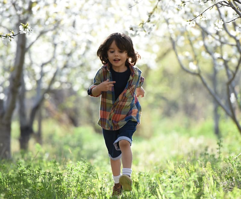 Little kid running through the trees in the woods.