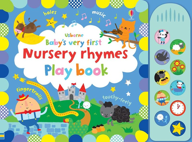 Cover of Baby's First Noisy Nursery Rhymes Playbook: popular nursery rhyme characters are decorated around the night sky hill scene, with a distant castle in the background.