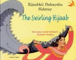 Cover of The Swirling Jijab: a woman in red clothing is holding a long grey hijab in the air.