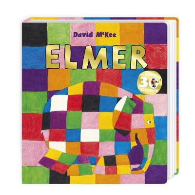 Cover of Elmer: a smiling elephant with a rainbow patchwork pattern on its body is walking, and the background has the same patchwork pattern.