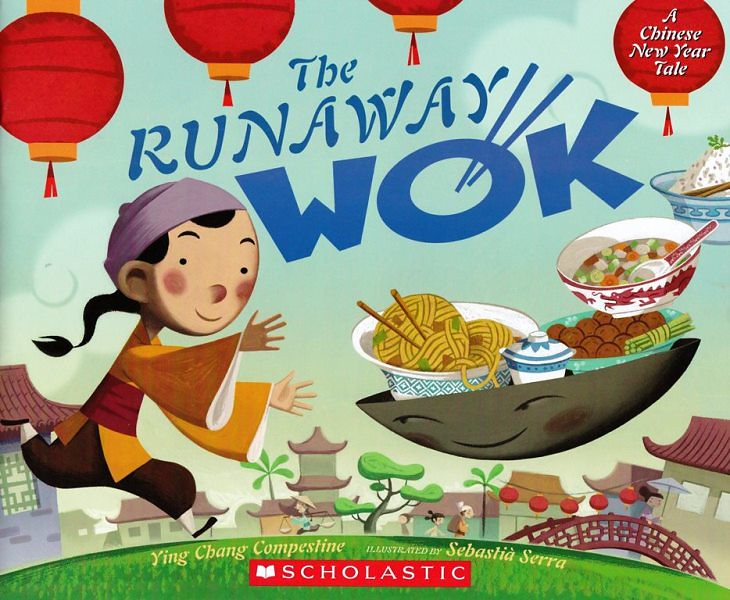 Cover of The Runaway Wok: a young girl is running on the grass in the neighbourhood, trying to catch her wok full of food ahead of her.